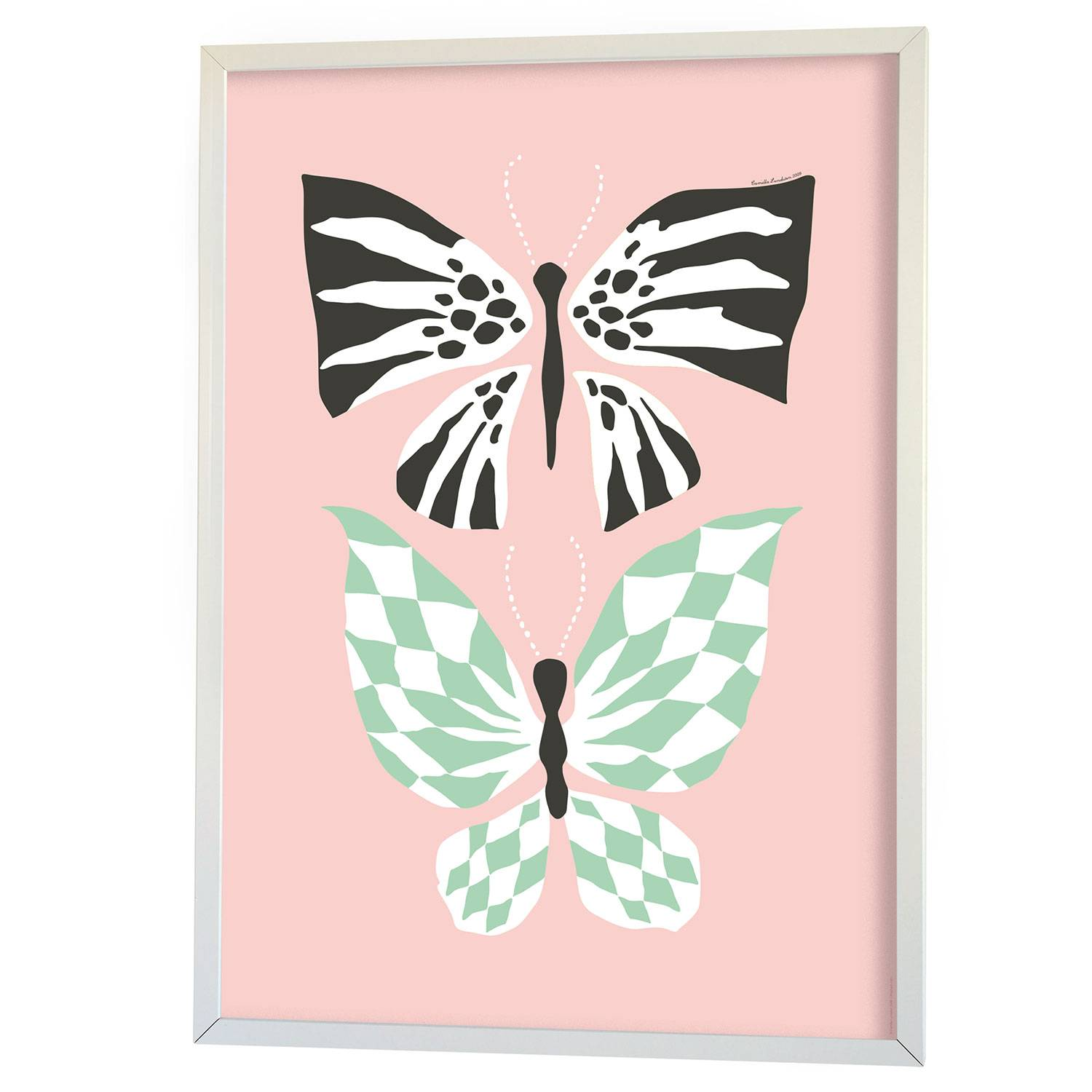 Littlephant Butterfly Family Graphic Print 50x70cm, Pink