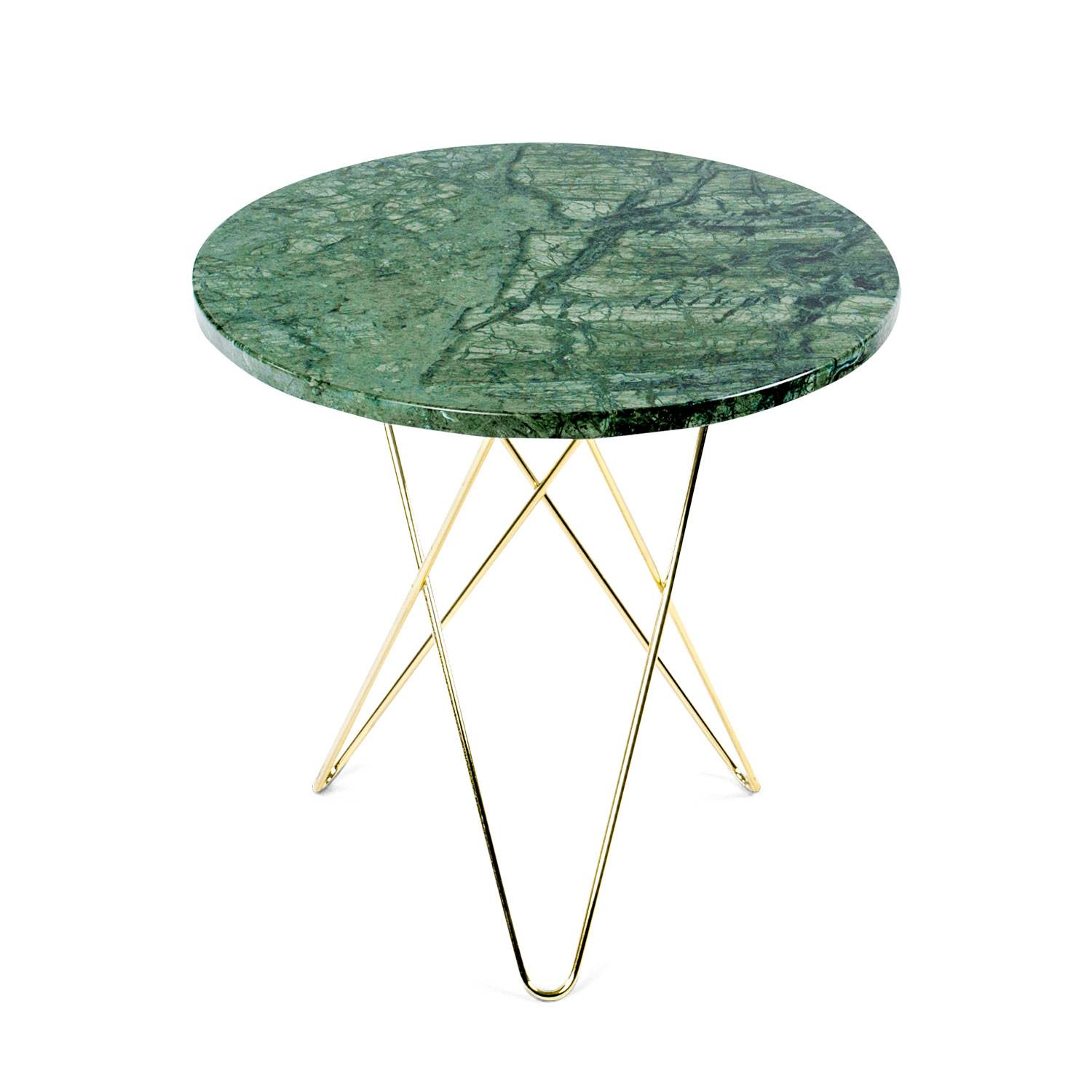OX Denmarq Tall Mini O Side Table, Brass Base, Marble