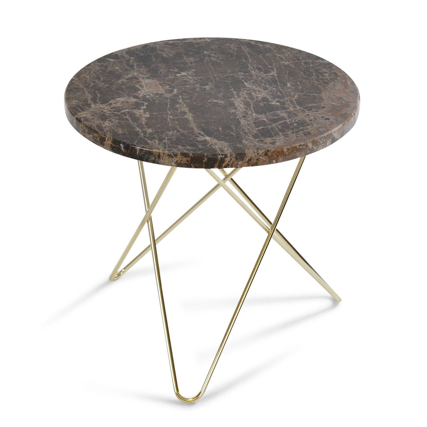 OX Denmarq Mini O Side Table, Brass Base, Marble