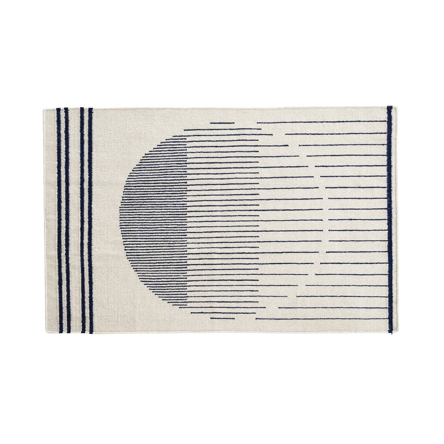 Woud Raining Circle matto 90x140cm, Valkea/Navy