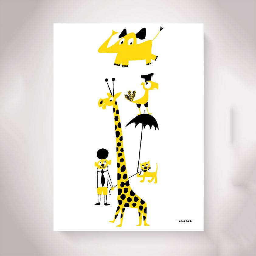 Olle Eksell Animals Yellow Juliste 50x70cm