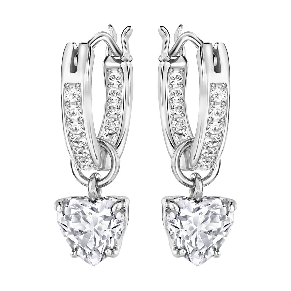 Swarovski Attract Heart Earring Crystal, Rhodium