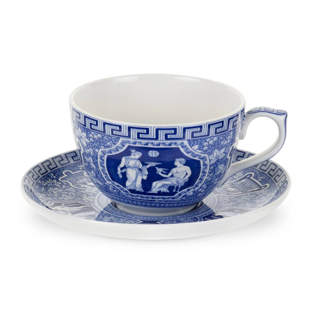 Spode Blue Room Jumbokuppi ja aluslautanen Greek 560 ml