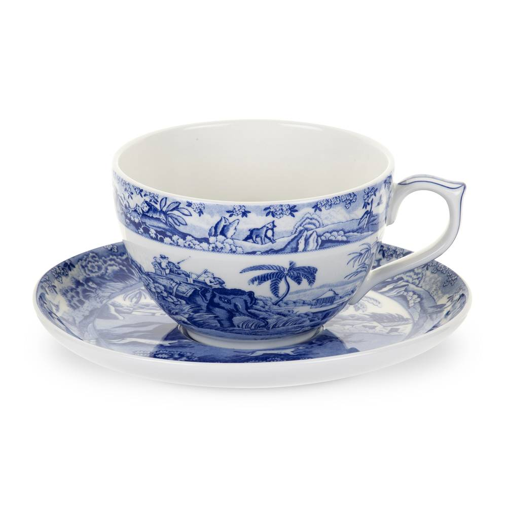 Spode Blue Room Jumbokuppi ja aluslautanen Indian Sporting 560 ml