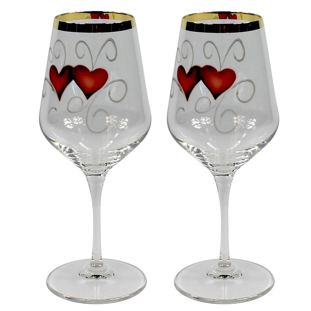 Nybro Crystal Golden Heart Viinilasi  35cl 2-pakkaus