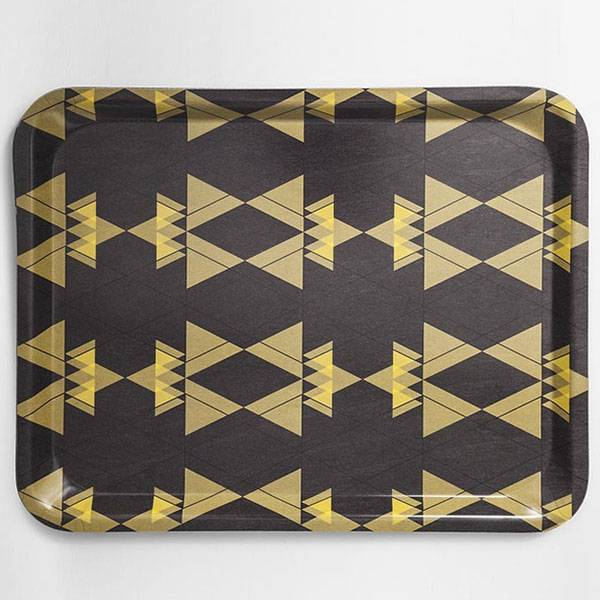 Petite Friture Fig 3 Tarjotin, Large, Yellow Triangles