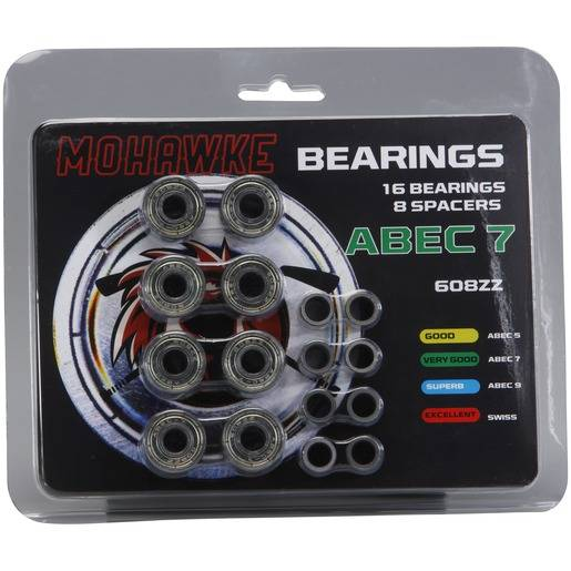 MOHAWKE KULLAGER INKL. SPACERS  ABEC 7 Silver