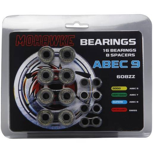MOHAWKE KULLAGER INKL. SPACERS ABEC 9 Silver
