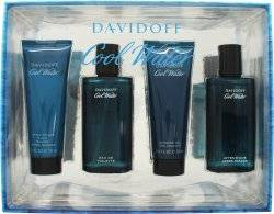 Davidoff Cool Water Gift Set 75ml EDT Spray + 75ml Aftershave Balm + 75ml Shower Gel + 75ml Aftershave Lotion