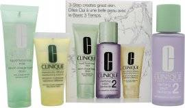 Clinique 3-Step Skincare Gift Set 50ml Liquid Facial Soap Dry Combination + 100ml Clarifying Lotion 2 Dry Combination + 30ml Dramatically Different Moisturizing Lotion Very Dry To Dry Combination