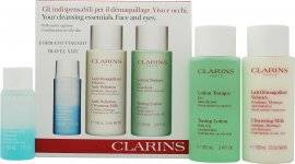 Clarins Cleansing Essentials Gift Set - Oily/Combination Skin 30ml Instant Make Up Remover + 100ml Anti Pollution Cleansing Milk + 100ml Toning Lotion