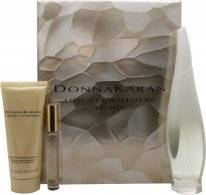 DKNY Liquid Cashmere White Gift Set 100ml EDP + 100ml Body Lotion + 10ml Rollerball Mini EDP