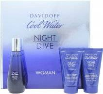 Davidoff Cool Water Night Dive Woman Lahjasetti 50ml EDT + 50ml Vartalovoide + 50ml Suihkugeeli
