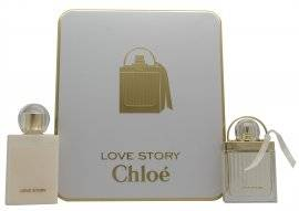 Chloe Love Story Gift Set 75ml EDP Spray + 100ml Body Lotion + 7.5ml EDP Mini