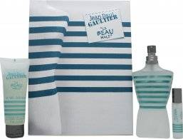 Jean Paul Gaultier Le Beau Male Gift Set 125ml EDT Spray + 75ml Shower Gel + 9ml EDT