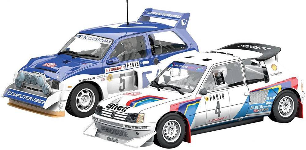 Scalextric Monte Carlo Rally Peugeot 205 T16 E2 ja MG Metr - Scalextric auto C3590A