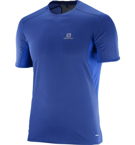 Salomon Juoksuvaatteet Salomon M Trail Runner Ss Tee SURF THE WEB/DRESS (Sizes: L)
