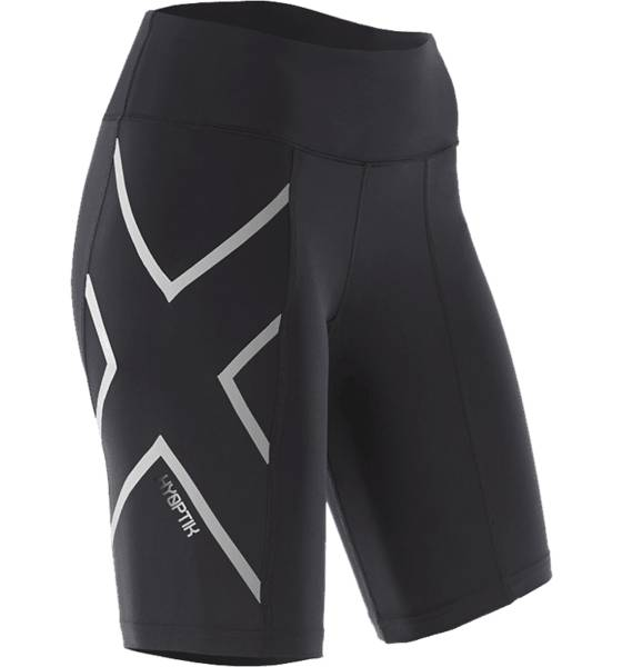 2xu Juoksuvaatteet 2xu W Hyoptik Mid-rise Compression Shorts BLACK/SILVER REFLE (Sizes: L)