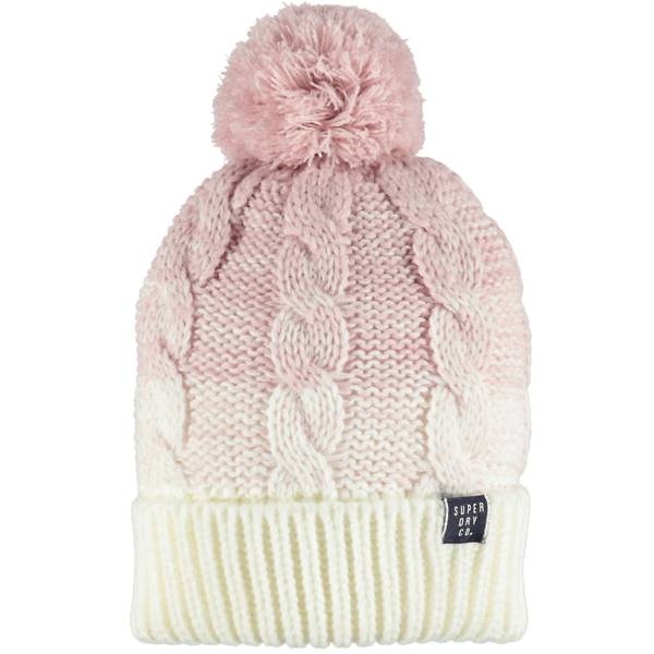 Superdry W Clarrie Cable Beanie Retkeilyvaatteet SANDY PINK OMBRE (Sizes: One size)