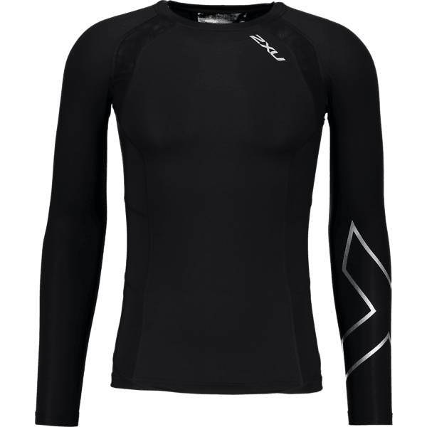 2xu Juoksuvaatteet 2xu M Compression Ls Top BLACK/SILVER (Sizes: L)