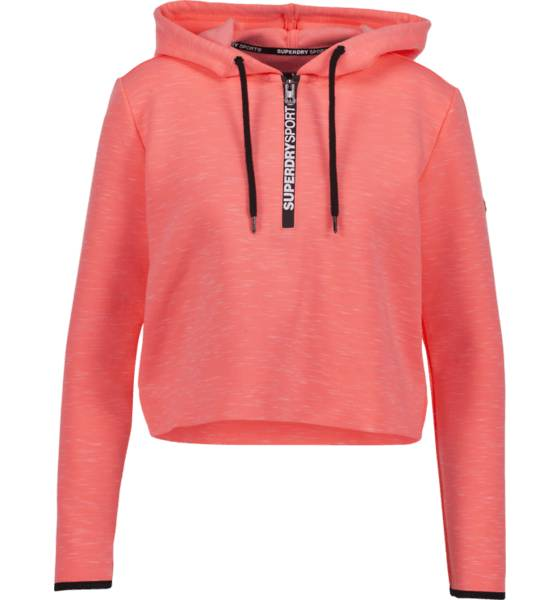 Superdry W Sd Sport Gym Tech Luxe Crop Hood Pitkähihaiset CORALL (Sizes: M)