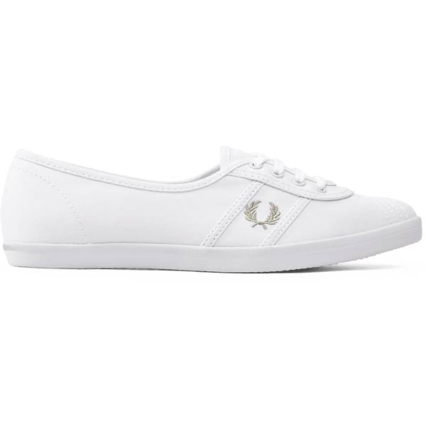 Fred Perry W Aubrey Twill Tennarit WHITE/PALE OLIVE (Sizes: 41)