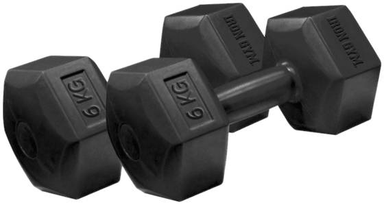 Iron Gym Treenivarusteet Iron Gym Fixed Hex Dumbbel 6kg Pair BLACK (Sizes: One size)