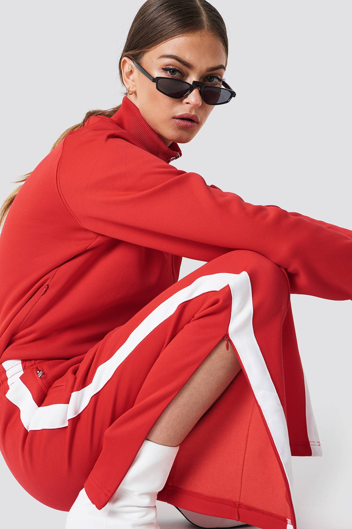 Calvin Klein Taped Knit Straight Fit Track Pant - Red