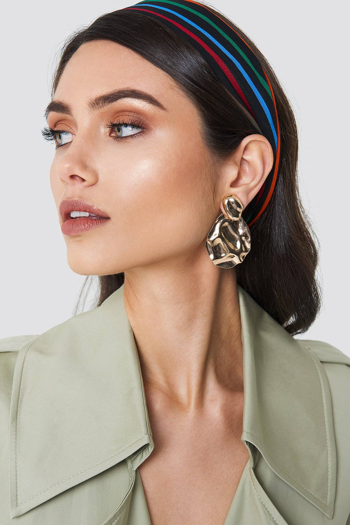 NA-KD Accessories Structured Drop Back Earring - Gold