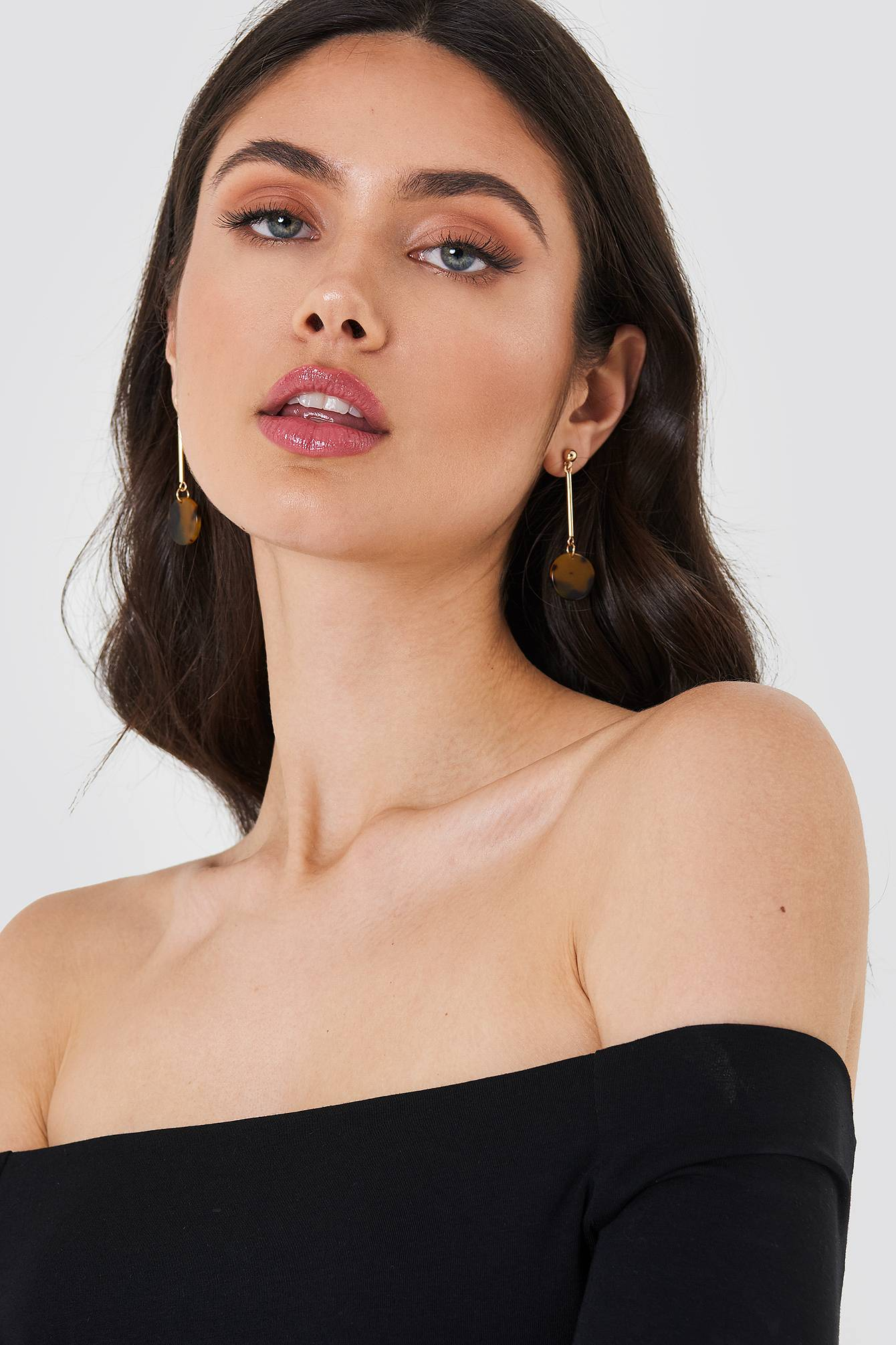 NA-KD Accessories Tortoise Shell Round Drop Earrings - Brown,Multicolor