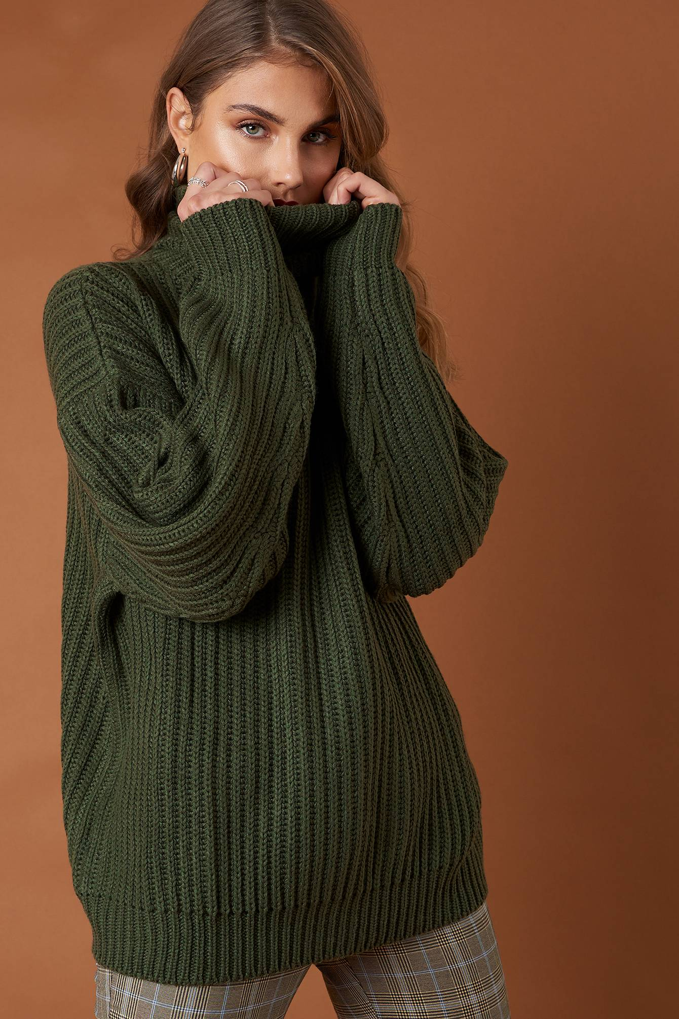 NA-KD Trend Big Chunky Knitted Sweater - Green
