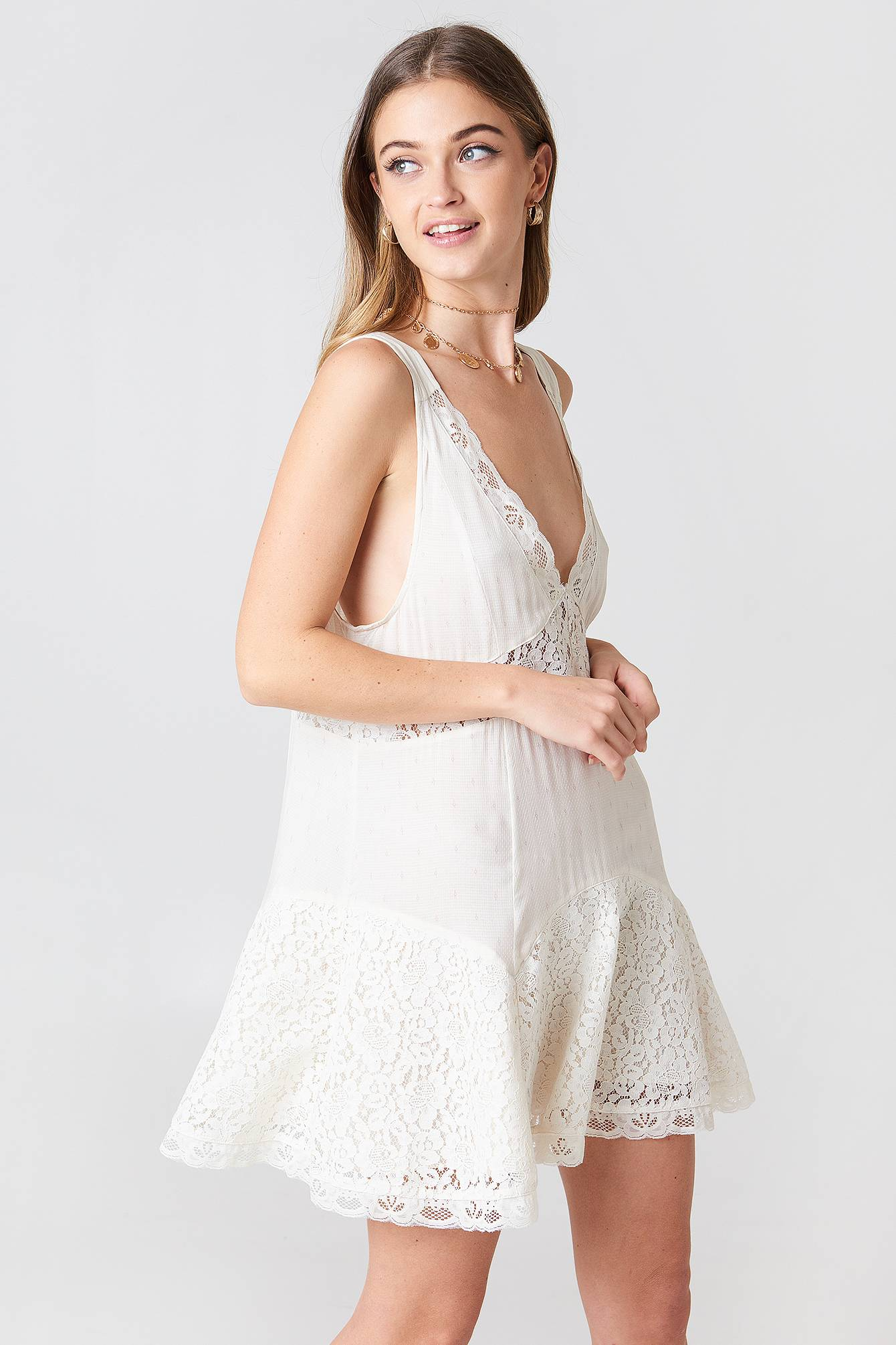 Free People Any Party Slip Dress - Offwhite