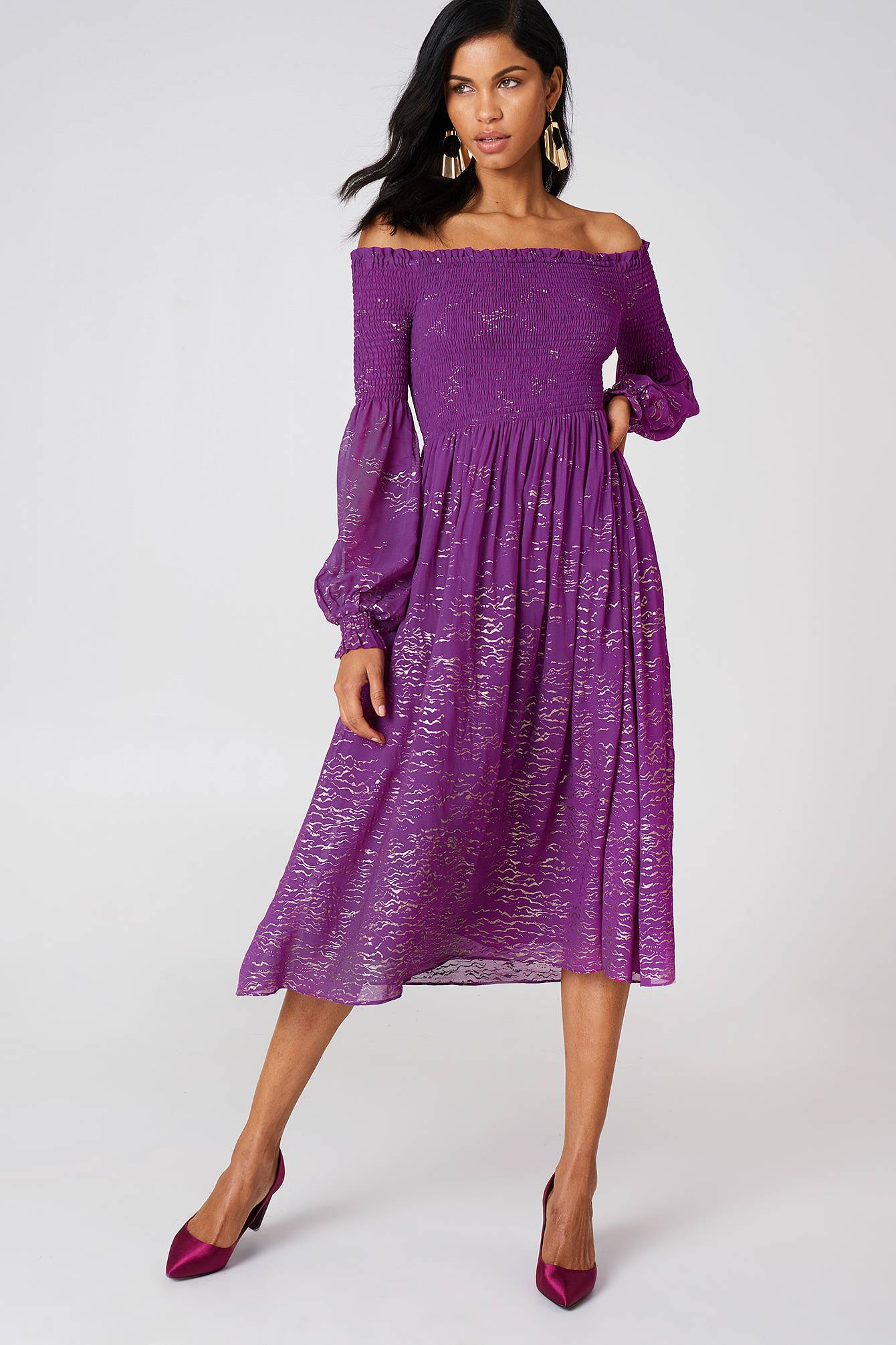 Free People Foiled Smock Midi Dress - Purple