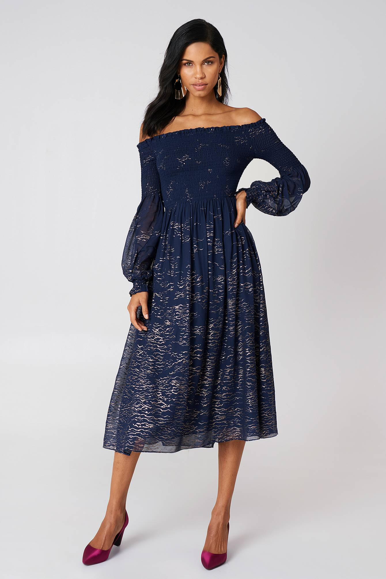 Free People Foiled Smock Midi Dress - Blue,Multicolor,Navy