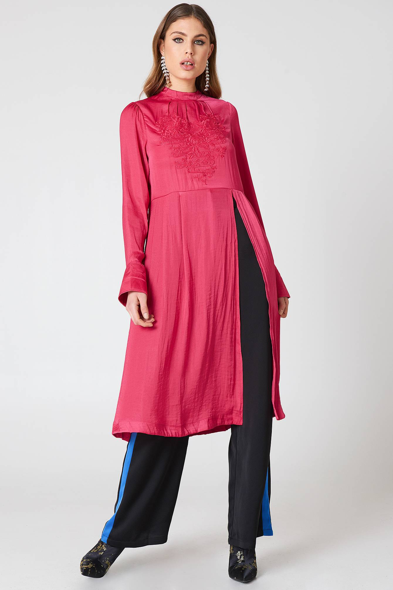 Free People New Day Embroidered Tunic - Pink