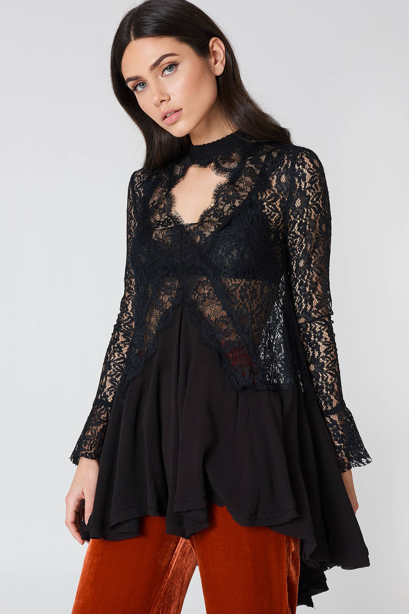 Free People New Tell Tale Lace Long Sleeve Tunic - Black
