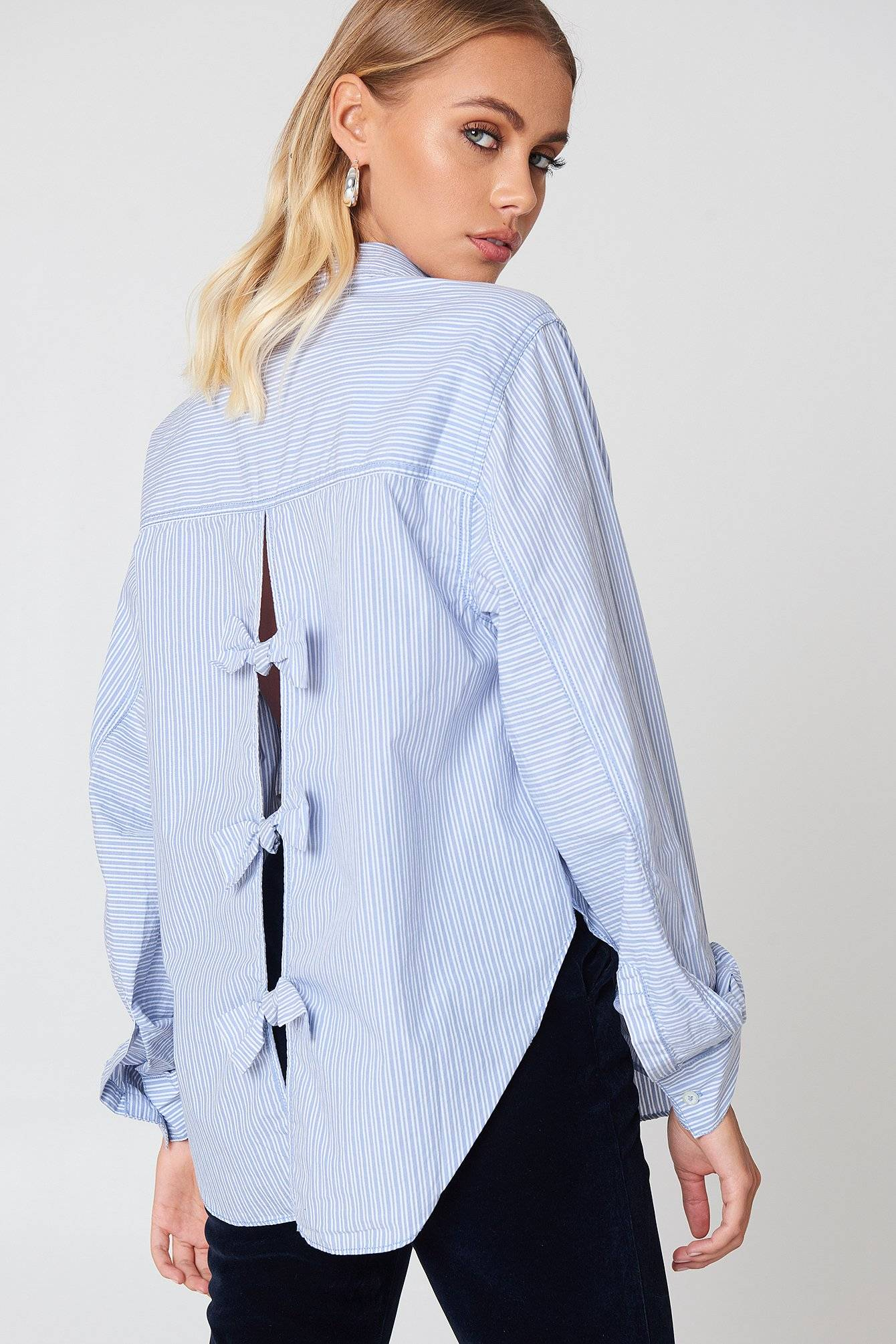Free People Tie It In A Bow Shirt - Blue,Multicolor