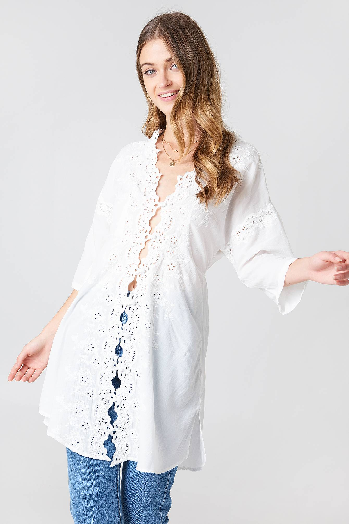 Free People To The Moon Buttondown Shirt - White