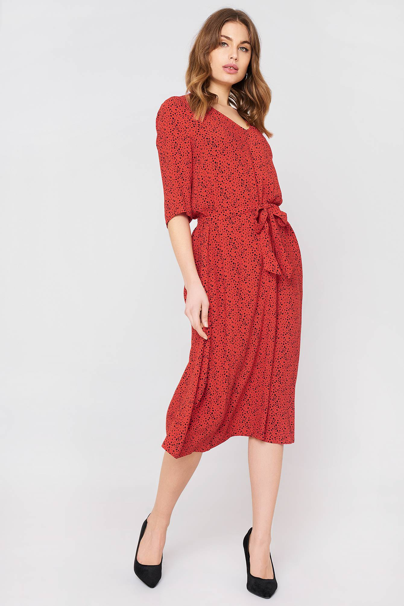 Just Female Ellen Long Dress - Red,Multicolor