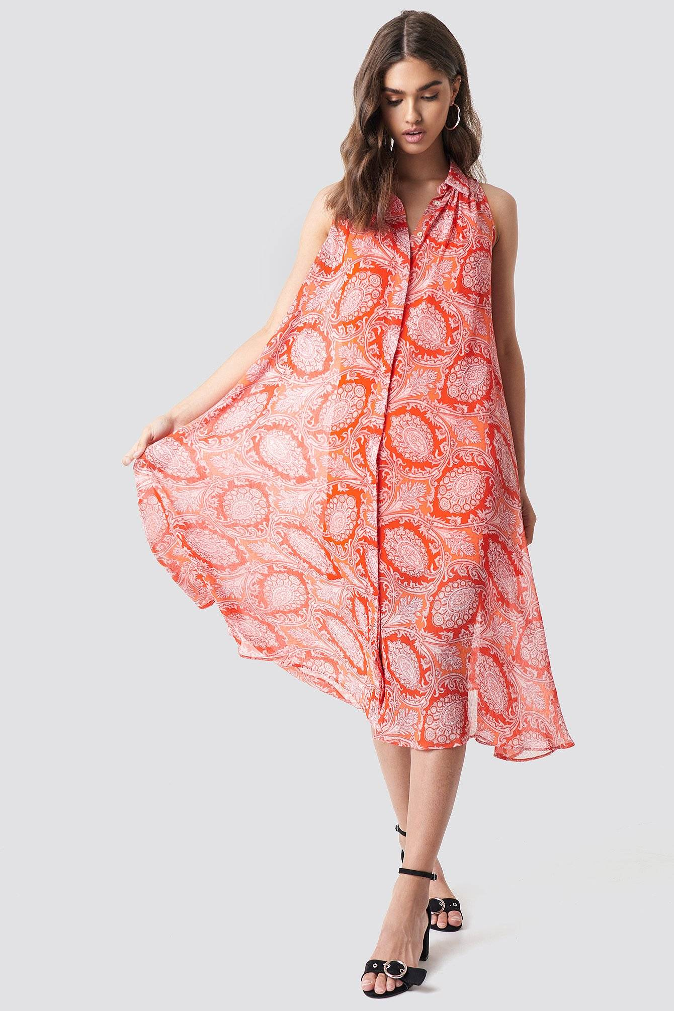 MANGO Bengala Dress - Orange