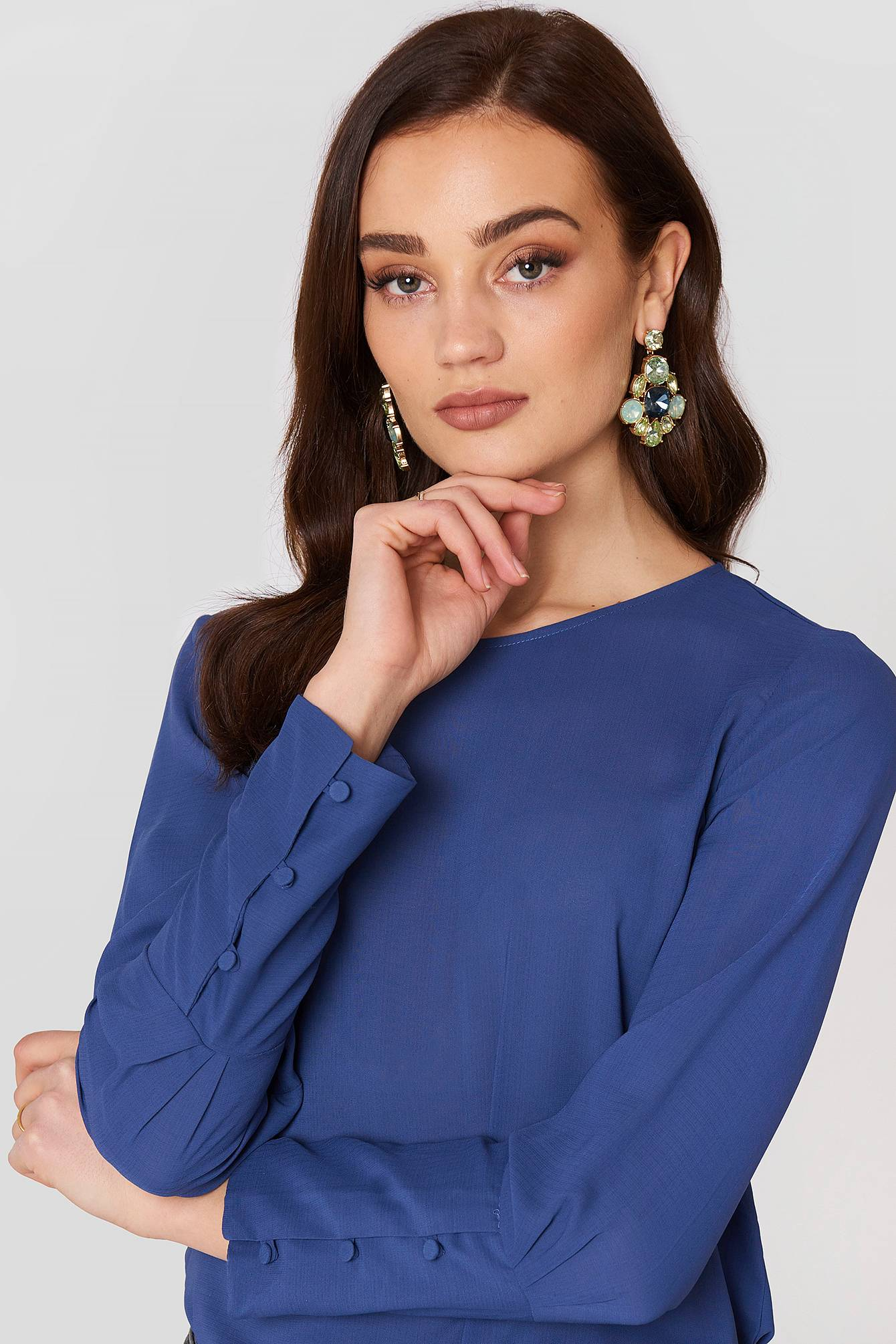 MANGO Buttoned Sleeves Blouse - Blue