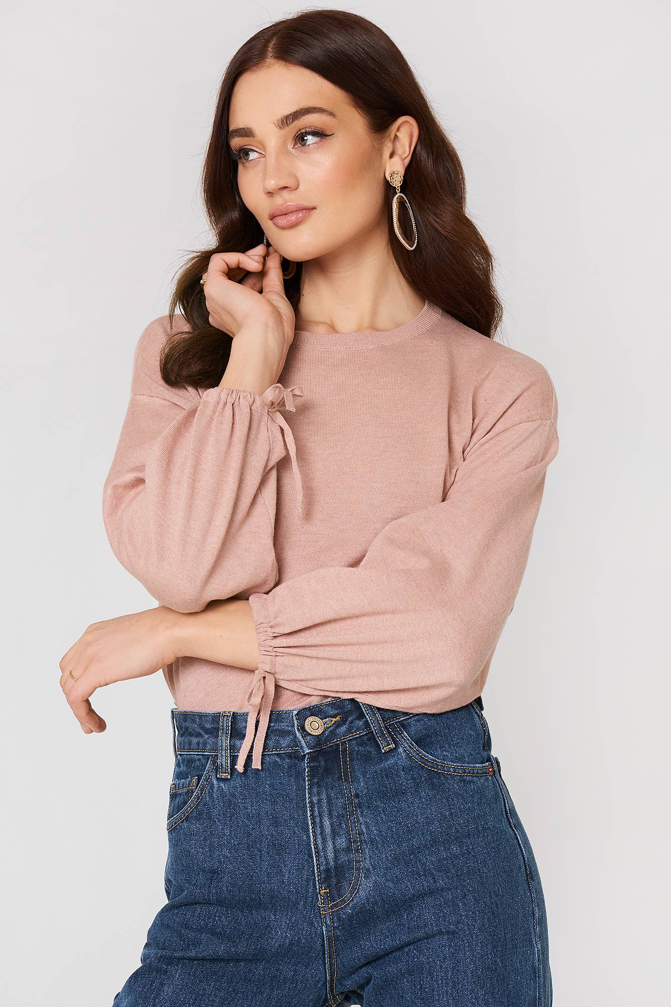 MANGO Puffed Sleeves Sweater - Pink