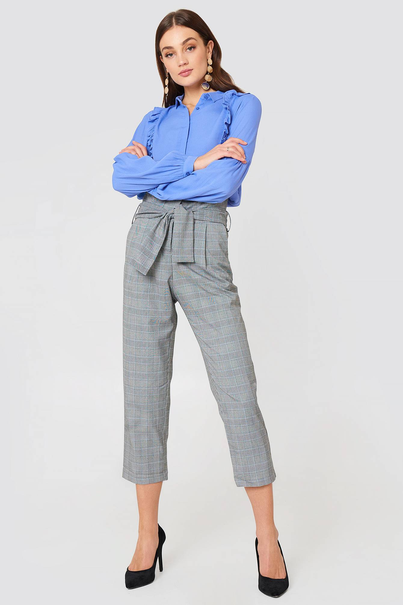 Just Female Edith Trousers - Grey,Multicolor