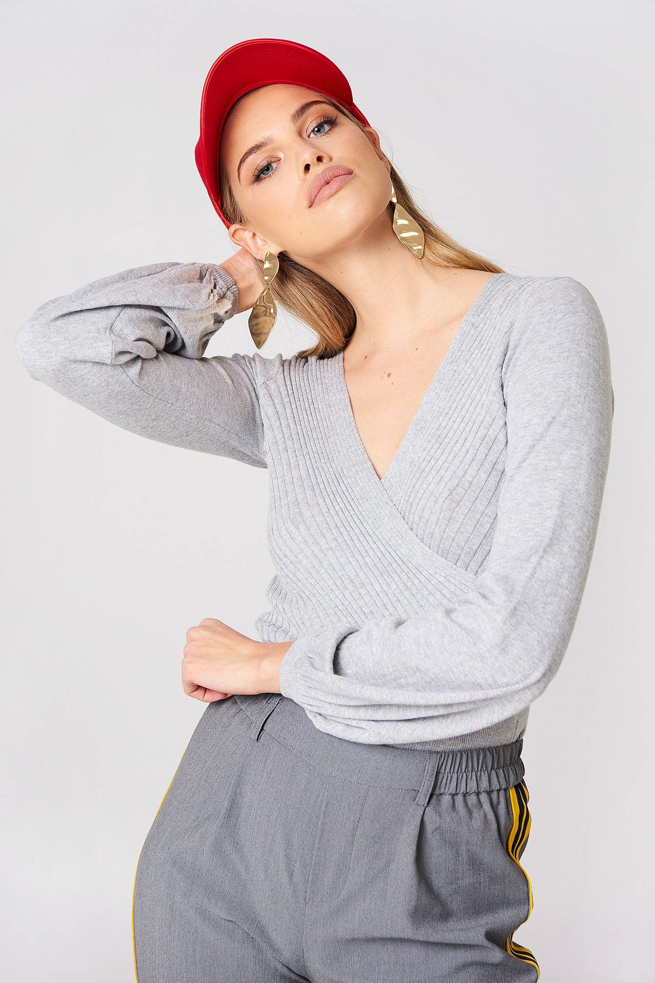 Minkpink Laura Knitted Wrap Top - Grey