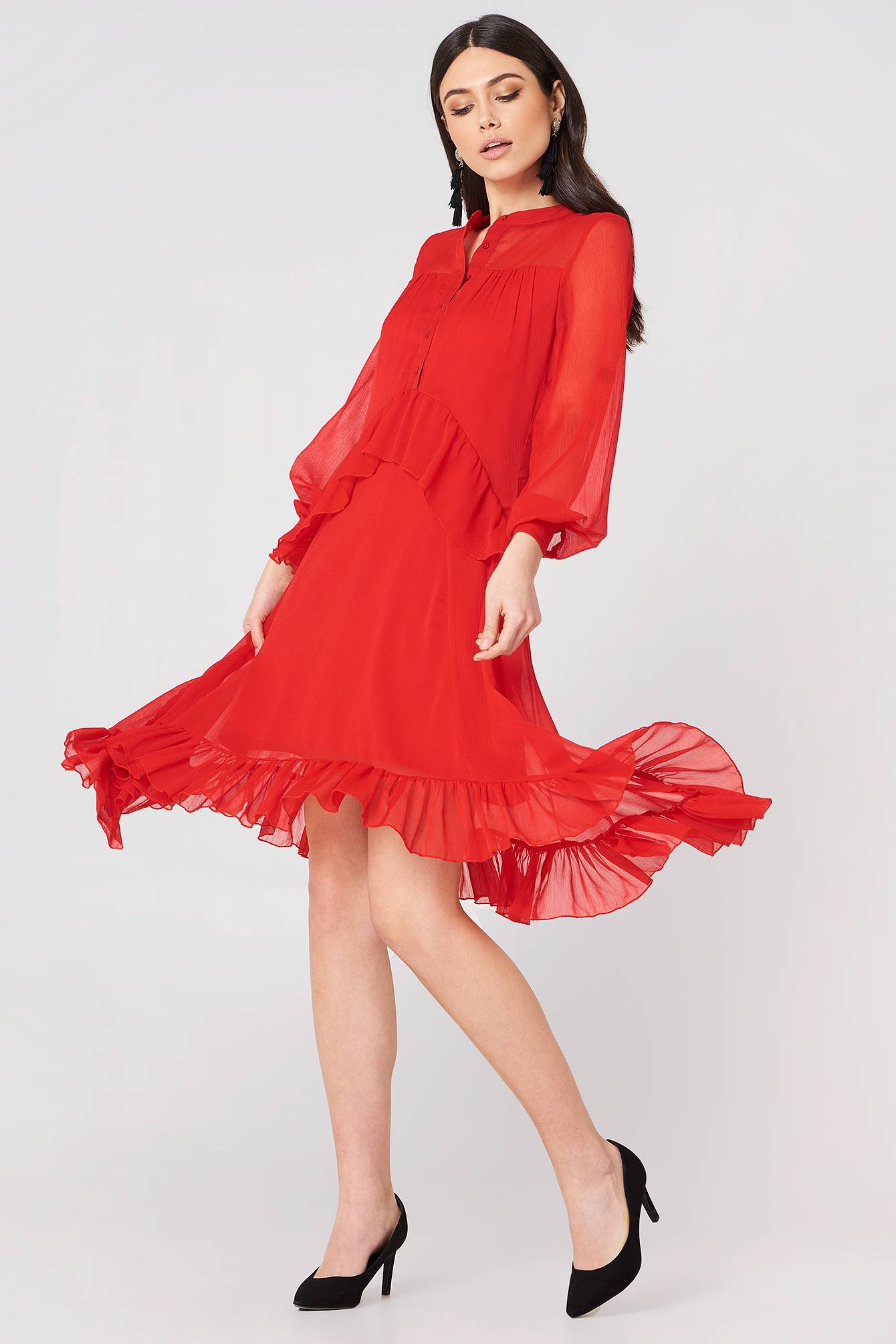 NA-KD Trend Side Dipp Frill Dress - Red