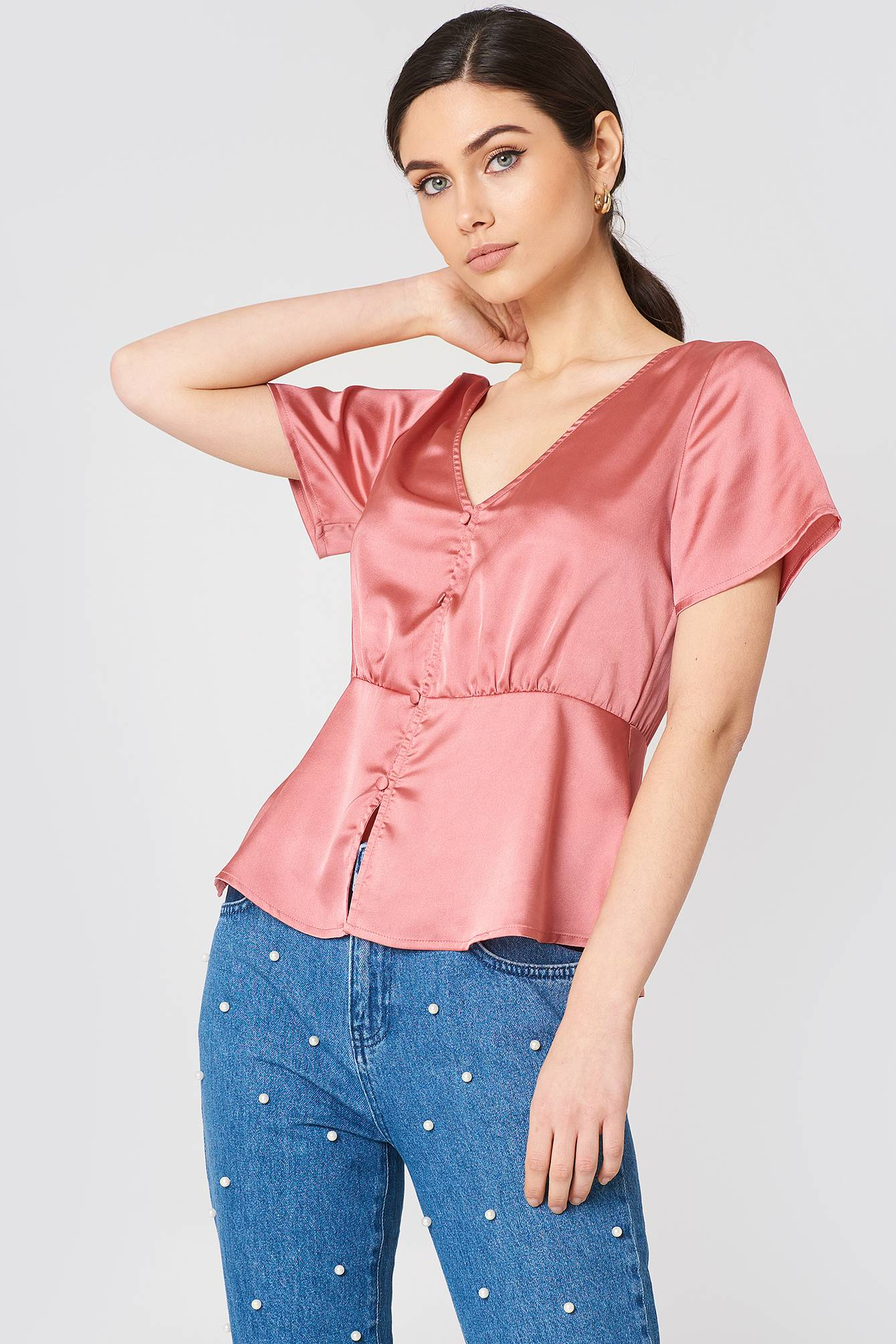Rut&Circle Ines Front Button Blouse - Pink,Copper