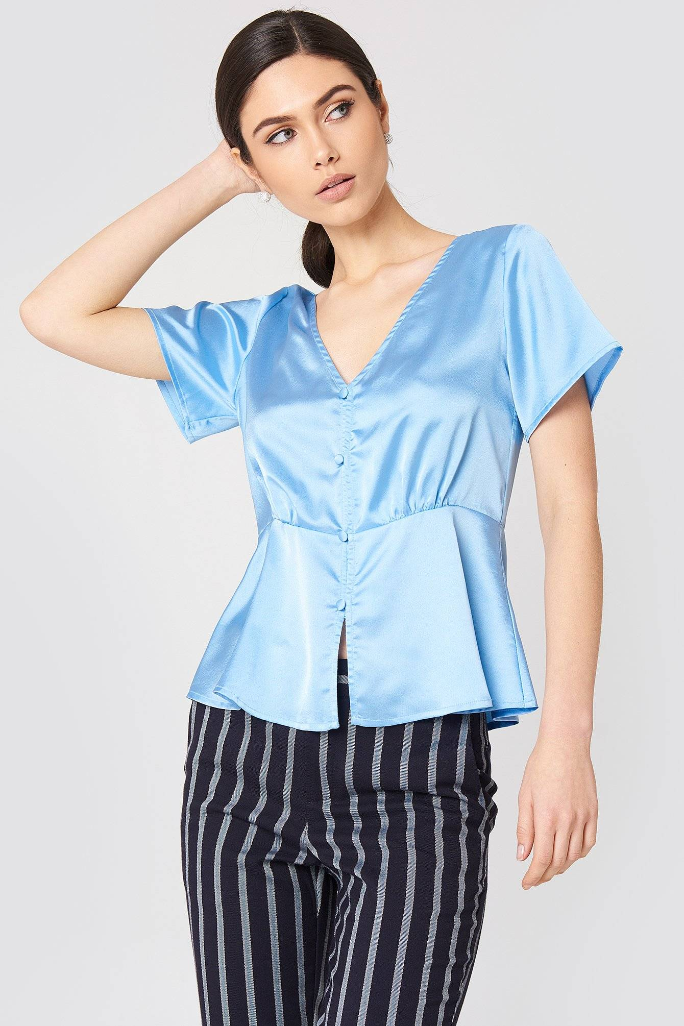 Rut&Circle Ines Front Button Blouse - Blue