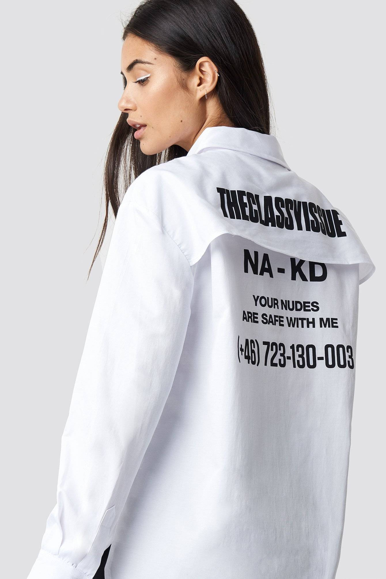 The Classy Issue x NA-KD The Classy Safety Shirt - White