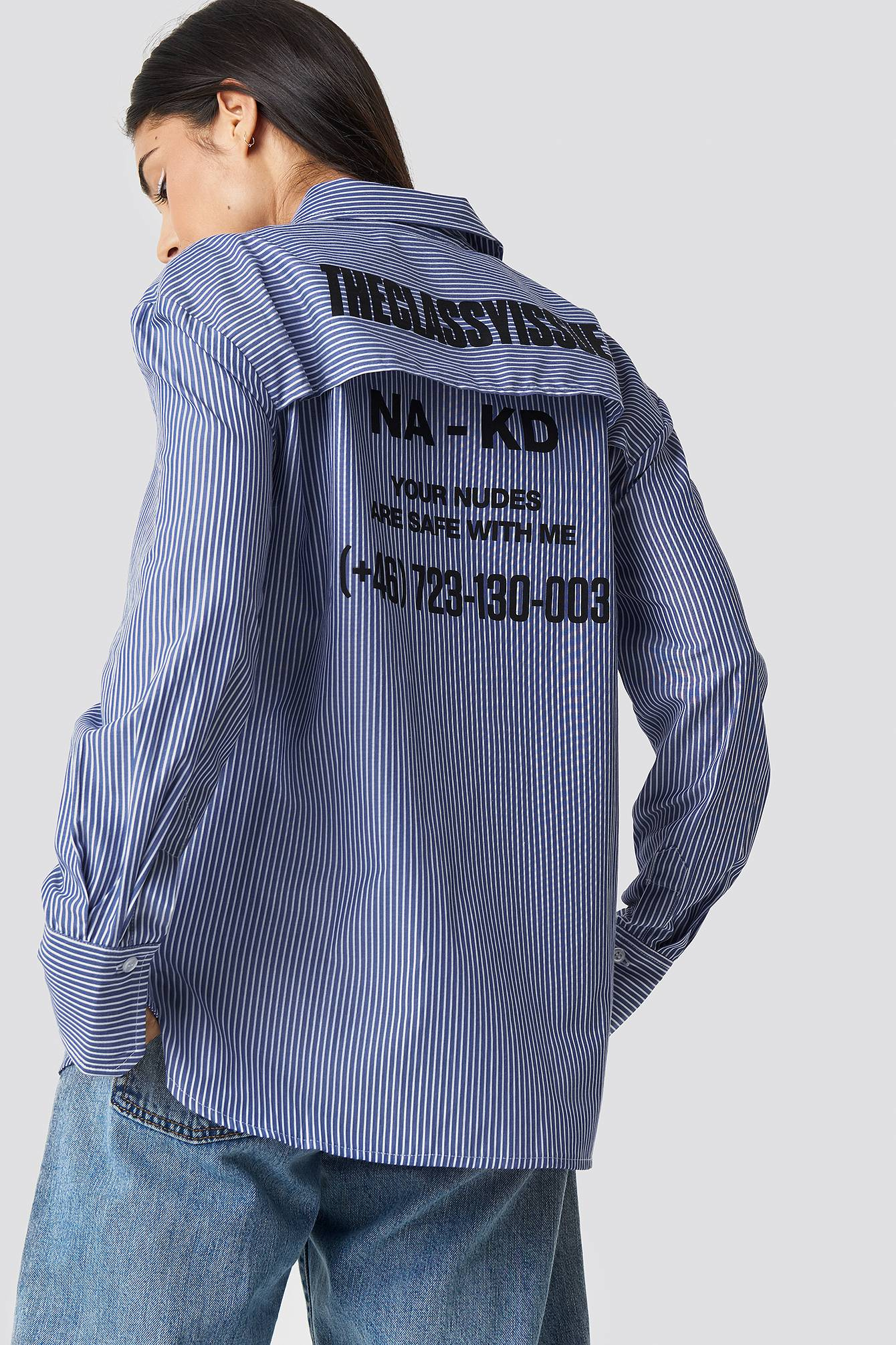The Classy Issue x NA-KD The Classy Safety Shirt - White,Blue