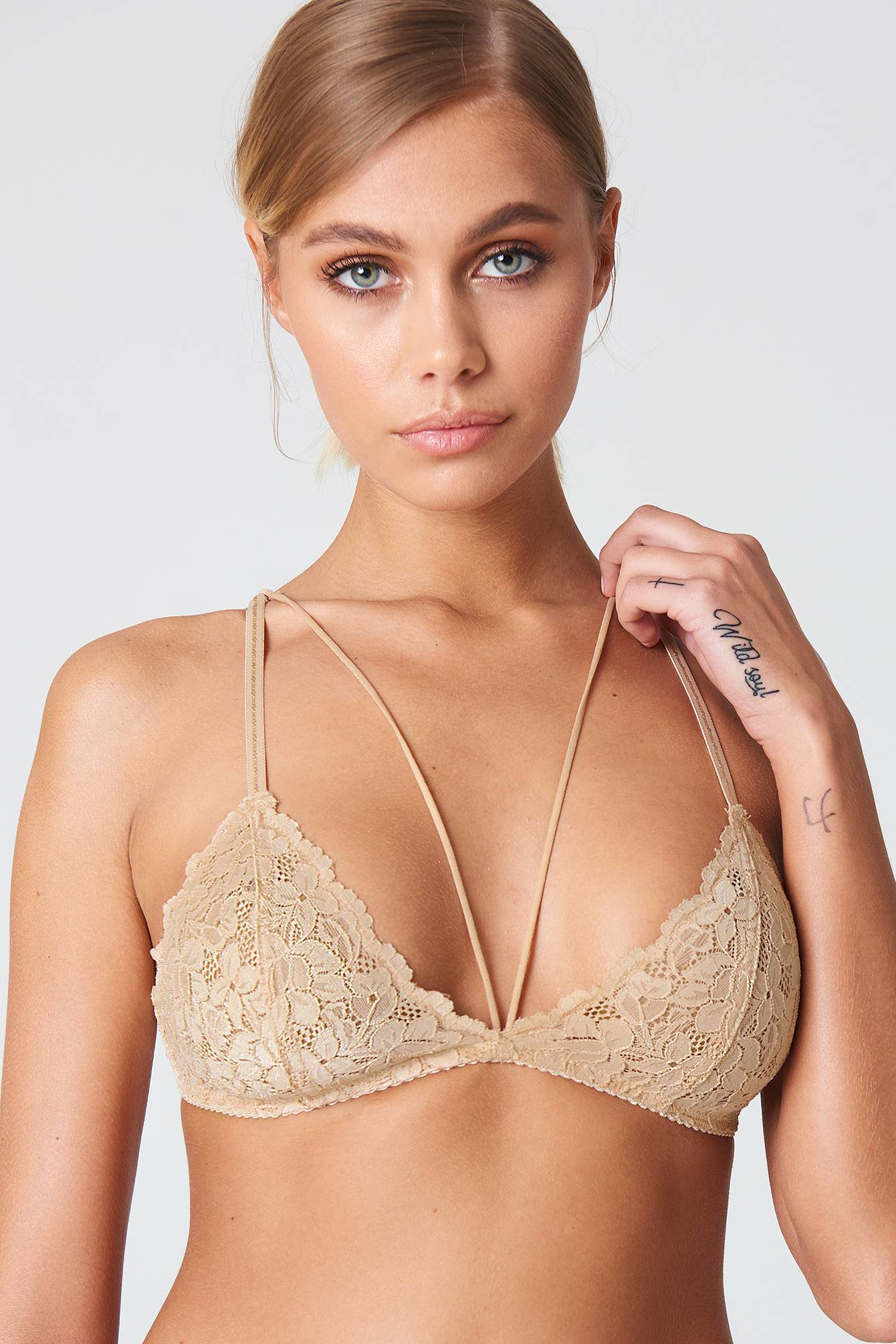 Free People Front Strap Triangle Bra - Nude